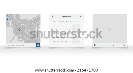set web ui elemants in blue and white color. Vector flat design. Mobile app - stock vector