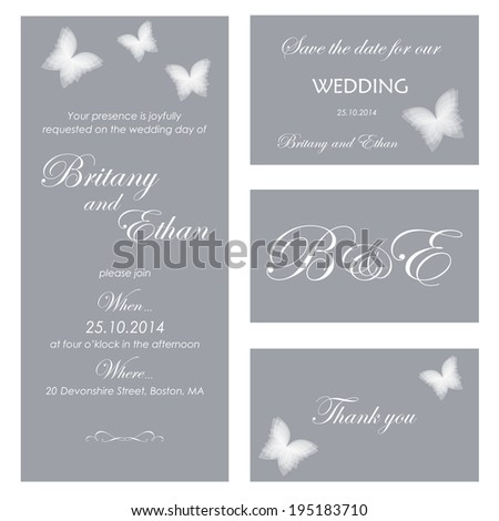 Set wedding card or invitation  with butterflies