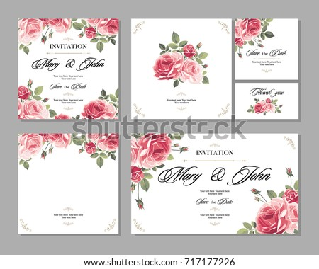 Set wedding invitation vintage card roses stock vector hd royalty set wedding invitation vintage card with roses and antique decorative elements vector illustration stopboris Gallery