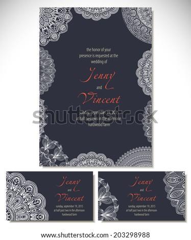 Set wedding invitations. Vector background. Card or invitation. Vintage decorative elements. Hand drawn background. Islam, Arabic, Indian, ottoman motifs. - stock vector