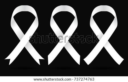 Set White Awareness Ribbon Symbol Antiviolence Stock Vektorgrafik