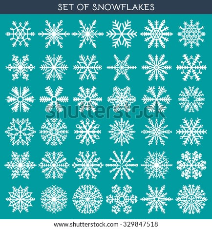 Set 36 white different snowflakes of handwork for design. New Year's symbols. Snowflakes for design. Winter objects. Festive elements. Snowflake Doodle. Snowflake Sketch - stock vector