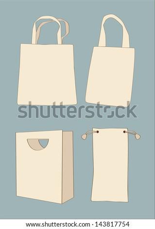 Set white empty shopping bag - stock vector