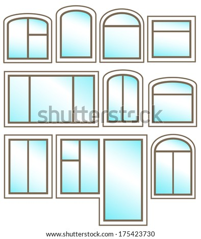 set windows icon with glossy glass on white background - stock vector