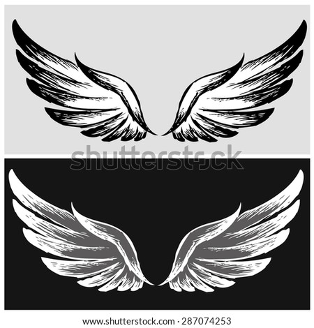 Set Wings,hand drawing, vector illustration