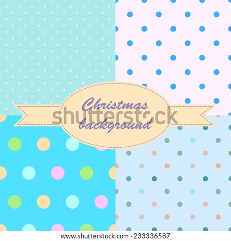 Set winter blue seamless pattern with small circles and dots for Christmas design. Christmas background