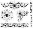 Set with a spider's webs and spider - stock vector