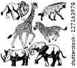 set with africa animals,beasts of savanna,black white isolated pictures,vector illustration - stock photo