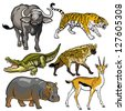 set with african animals,wild beasts of africa,pictures isolated on white background,vector illustration - stock photo