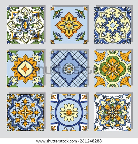 Set with Beautiful seamless ornamental tile background vector illustration - stock vector