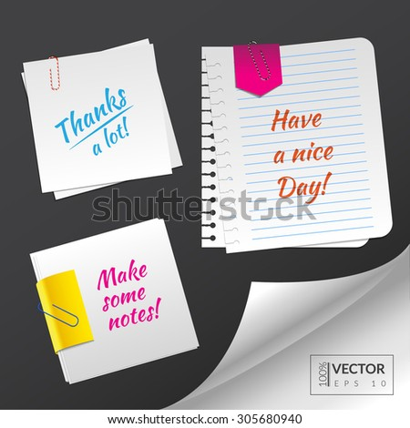 Set with blank paper sheets with paper clips to make some notes on it. Vector illustration. EPS 10 - stock vector