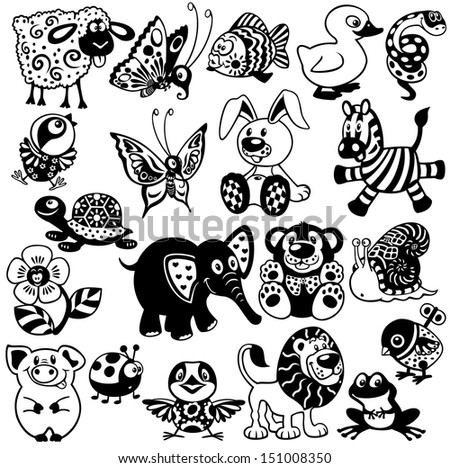 set with cartoon animals and toys for babies and little kids, black and white vector pictures - stock vector