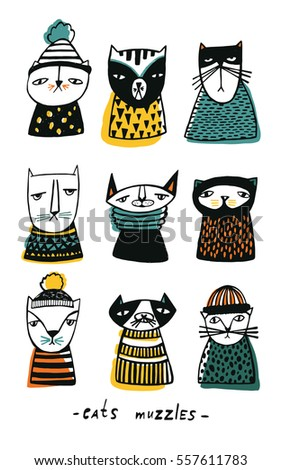 Set with cartoon cats muzzles. Hand drawn doodle kitty collection on white background. Colorful vector illustration.