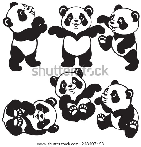 set with cartoon panda bear , black and white images for little kids