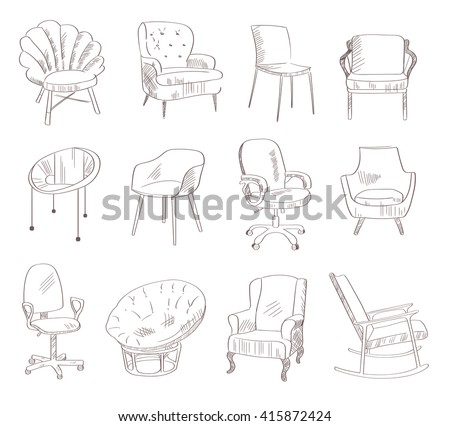 Set with chairs. Vector illustration. Hand drawn. Sketch - stock vector