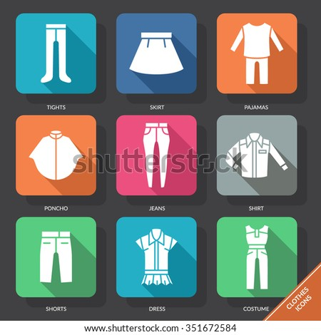 Set with clothes Icons. Vector illustration. EPS 10 - stock vector