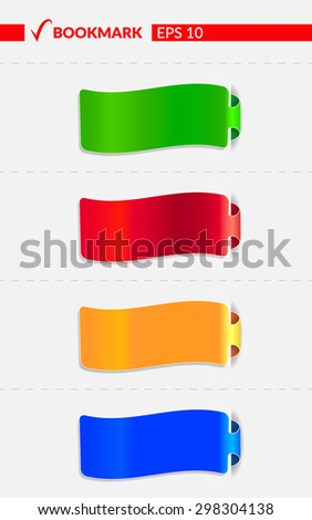 Set with colorful bookmarks. Vector illustration -  EPS10 - stock vector