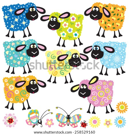 set with colorful decorative sheep for babies and little kids