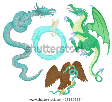 Set with colorful medieval mythological creatures and symbols (dragons, eagle fighting snake, the Ouroboros, leviathan), vintage heraldry illustration - stock vector