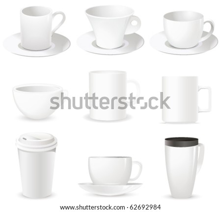 set with cups on white - stock vector