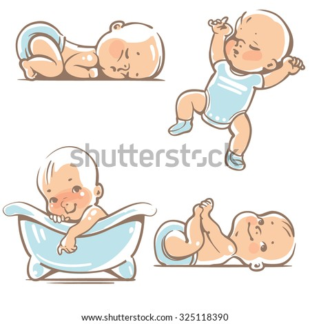 Set with  cute baby boys 0-12 months. Various poses. First year activities. Sleeping positions, on stomach, on back, legs in hands.  Swimming in bath. Vector Illustration isolated on white background - stock vector