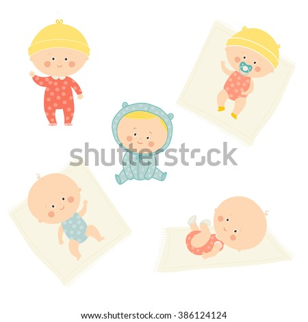 Set with cute baby girls and boys. Growth from newborn to toddler. Various poses.First year. activities. Sitting, standing, playing, smiling. Vector Illustration isolated  on white background