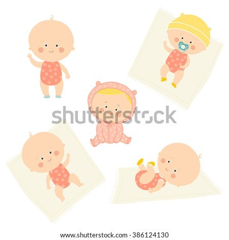 Set with cute baby girls. Growth from newborn to toddler. Various poses.First year. activities. Crawling, sitting, standing, playing, smiling. Vector Illustration isolated  on white background