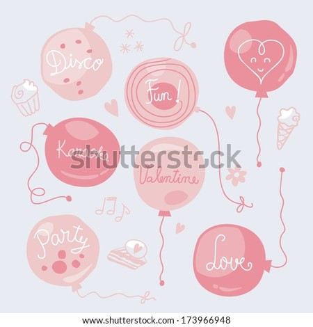 Set with cute balloons for Valentines Day party - stock vector