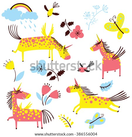 Set with cute doodle line art magic mythology unicorns in children's style. Collection with rainbow, clouds with rain, flowers, tulips, leaves, birds and butterflies isolated on white background - stock vector