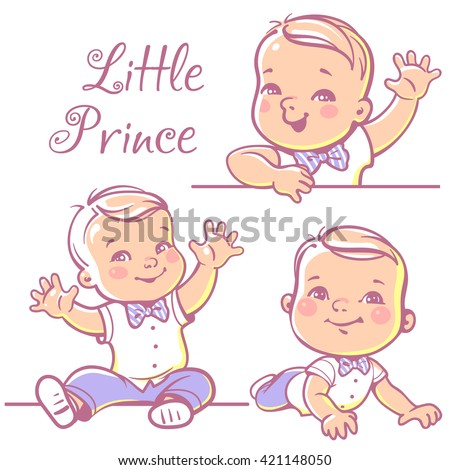 Set with cute little baby  boy 6-12 months wearing bow tie, white shirt. Portrait of happy smiling baby  one year old. Little prince sitting, lying on white background. Colorful vector illustration.  - stock vector
