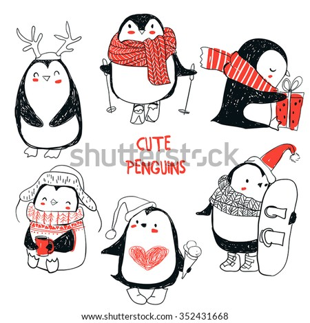 set with cute penguins - stock vector