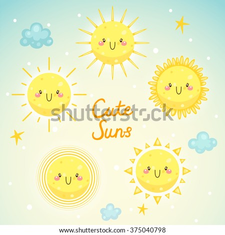 Set with cute Suns, sunny weather and happy day, children's illustration, vector. - stock vector