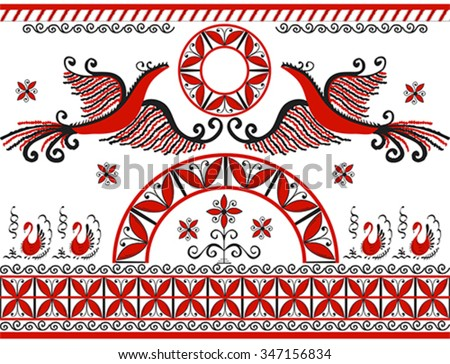 Set with decorative elements of cosmogonic traditional folk art of northern region of Russia. Mezensky red firebird. Illustration, vector - stock vector