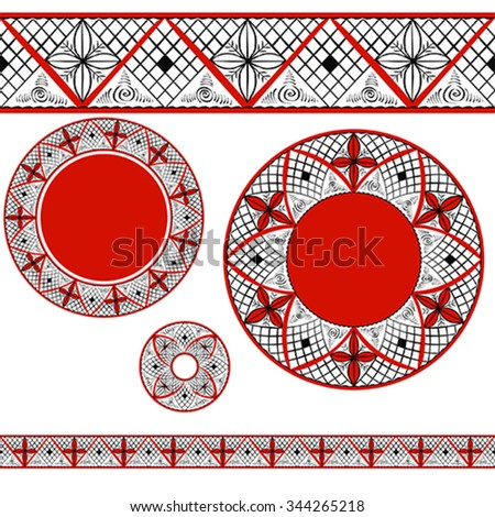 Set with decorative elements of traditional folk art of northern region of Russia. Mezensky ornament. Illustration, vector - stock vector
