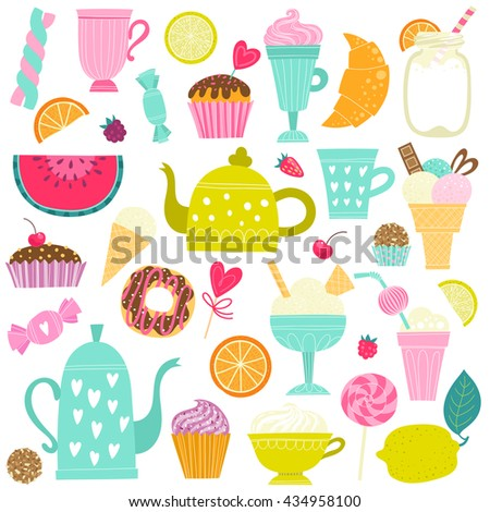 Set with desserts, tea, ice cream and fruit - stock vector