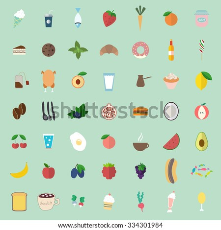 set with different food icons, vector illustration
