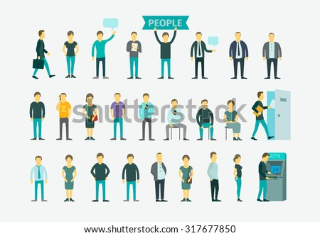 Set with 26 different people flat conception vector illustration ATM, queue turn the door - stock vector