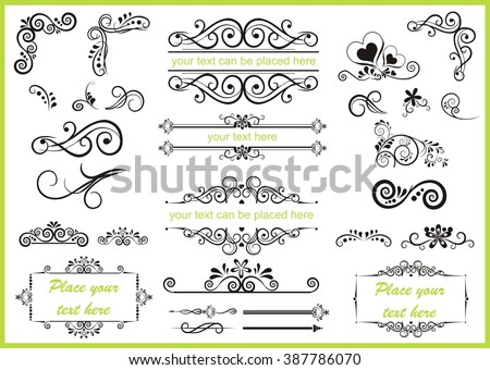 set with different swirled floral ornaments - stock vector