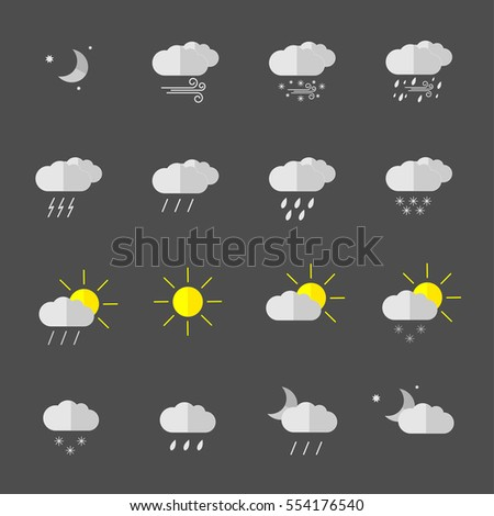 set with different weather icons