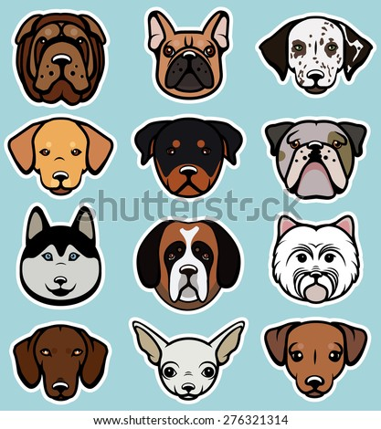 Set with dog breeds, illustration isolated. Dog collection. - stock vector