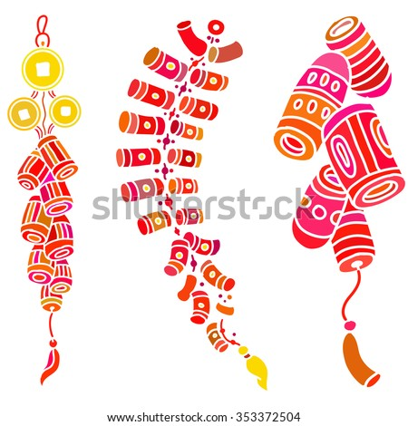 Set with doodle stylized firecrackers. Colorful silhouette on the white background. EPS10 Vector.