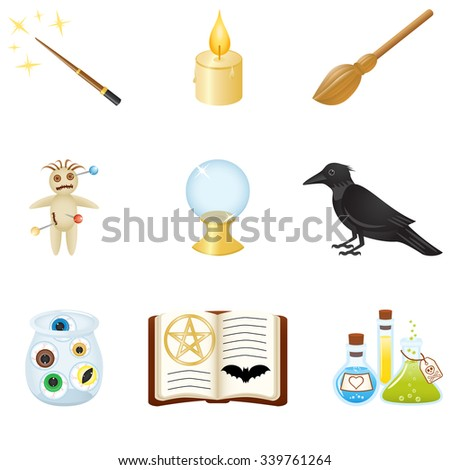 Set with equipment for magic - stock vector