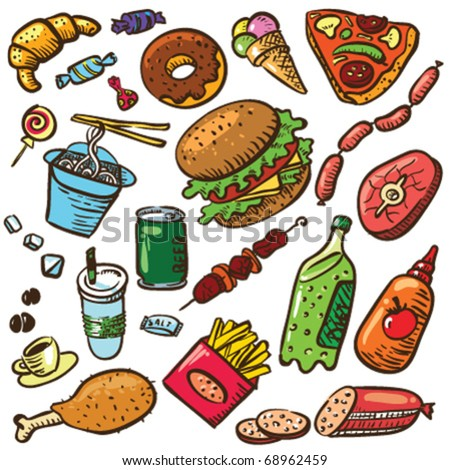 Set with fast food products - stock vector
