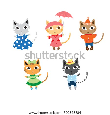 Set with five cute cartoon fashionable cats in different  seasonal clothes.