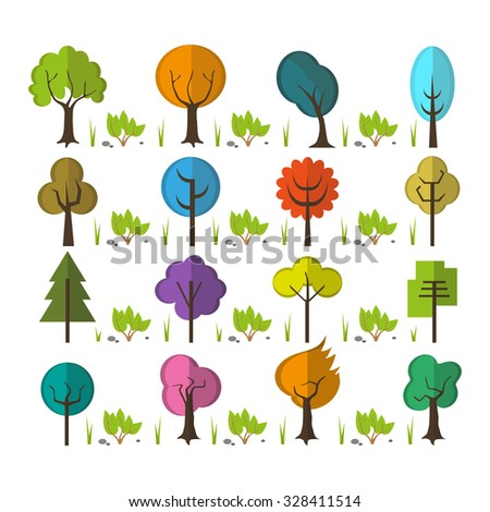Set with forest plants, trees, shrubs and bushes