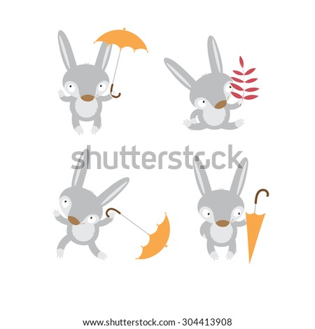 Set with four cute cartoon hares in different poses. - stock vector