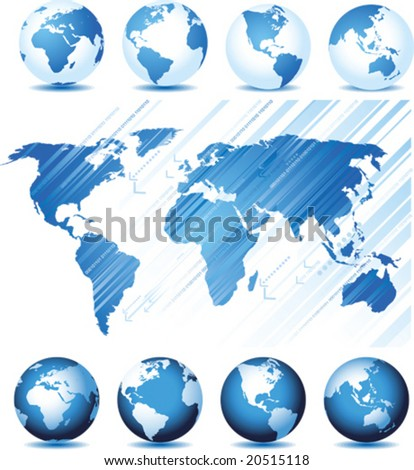 Set with global series and map background, vector illustration. Base map generated using map data from the public domain. (www.diva-gis.org) - stock vector