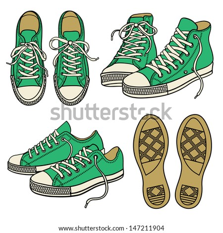 set with green sneakers isolated on white - stock vector