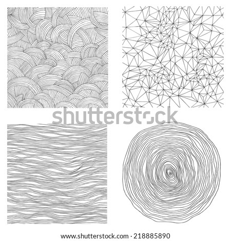 set with hand drawn abstract backgrounds - stock vector