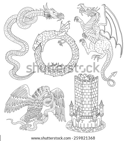 Set with hand drawn silhouettes of medieval mythological creatures and old castle tower, black and white graphic illustration - stock vector